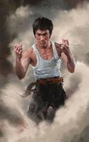 Рамку, Bruce Lee, Pure расписанную Портрет Арт картина маслом на холсте высокого качества для декора стен Мульти Размеры Бесплатная доставка