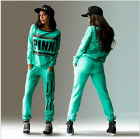 sport wear Tracksuit Women Letter vs Pink Print Sport Suit H...