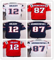 NIK Elite Football Stitched Patriots Jerseys #12 Brady #87 G...