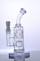 bongs en verre Violet Bent Neck pipe à eau en verre avec plates-formes pétrolières de douche perc avec 14 mm joint