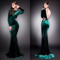 Biensavvy Velvet 2016 Mermaid Evening Dresses Jewel Neckline...