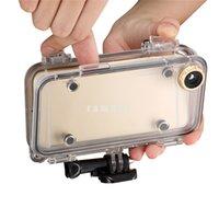 Underwater Swimming Surfing casos impermeables del bolso del teléfono móvil con la lente ancha del ángel de 170 grados para el iPhone 6 6S