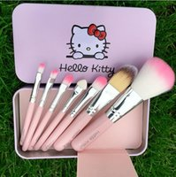 Cute Hello Kitty Sweet pink black 7 Pcs Mini Makeup brush Se...