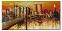 очаровательный New York City Views, Pure Ручная роспись пейзажной живописи маслом искусства Canvas.any заказной размер принимаются Свободная перевозка груза, классический