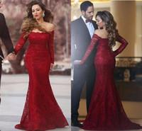 Sexy кружева арабские Вечерние платья Русалка платье с плеча Иллюзии Длинные рукава платье Длинные молния назад Vestidos платья коктейль