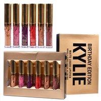 Hot Kylie Cosmetics Matte Liquid Lipstick Mini Kit Édition Anniversaire Lip Limited Avec la boîte d'or 6pcs / set Lip Gloss DHL Free MR022