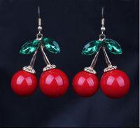 500 pcs Frozen Cherry Dangle earrings Lovely Red Fruit Ear S...