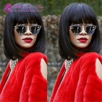 Mongolian virgin hair Straight 130% density bob lace front w...