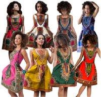 2016 novo design africano da forma 8 cores Mulheres impressão tradicional Dashiki características nacionais vestido sem mangas Slim Sexy Dresses