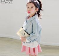 2016 Autumn Fashion Children Big Girl Pink Blue Long Sleeve ...