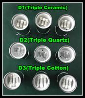 2016 RDA cire vaporisateur cire Coil Triple quartz Coil verre ajustement globe atomiseur de base en céramique Cire céramique tête de bobine