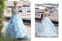 2017 New Light Sky Blue Evening Dresses Lace Tiered Oragan Z...