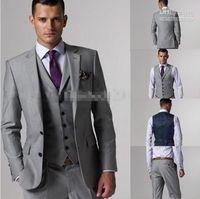 100% High Quality Slim Fit Groom Tuxedos Light Grey Side Sli...