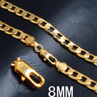 """8MM*20"""" side chain plated 18k gold necklace fashion personal..."""