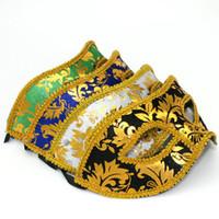 MJ012 10PCS Половина маска Halloween Masquerade маски мужчин, Венеция, Италия, простак кружева яркие ткани маски