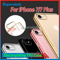 Pour 7 Coque Iphone Colorful TPU Electroplating Case Backcover Ultra Thin Case TPU Soft Case Gel Silicone Case Jet noir Opp sac DHL
