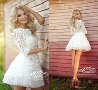 New Design Dreamy 3D- Floral Appliques Short Lace Wedding Dre...