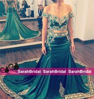 Новый Две пьесы Hunter Green Вечерние платья с аппликациями вышивки Индийский арабский Кафтан Длинные Формальное партии выпускного вечера мантий знаменитости Стиль Wear