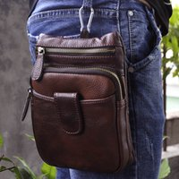 Genuine Leather Men Waist Bag Small Shoulder Bag For Outdoor...