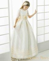 2016 Первое причастие платья Линия цветок Glirl платья Половина рукава платья Pageant Faithfully для свадебных девочек