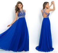 3 Colors Royal Blue 2016 Cheap Sheer Prom Dress Backless Bea...