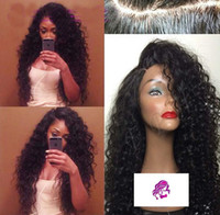 Side Part Deep wave Curly Human Hair Lace Wig Peruvian Virgi...