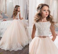Выполненные на заказ платья девушки цветка для венчания Blush Pink Princess Tutu блестками Appliqued кружево лук 2017 год сбора винограда Ребенка первого причастия платье