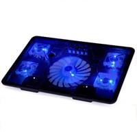 Wholesale- Laptop cooler with 5 fans 2 USB ports blue back li...