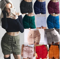 Autumn lace up suede leather women skirt 90' s Vintage p...