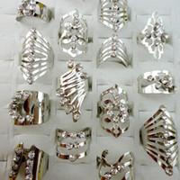 Mélanger style en alliage de zinc plaqué argent Bague anneau d'orteil réglable pour Femmes Hommes Bijoux en gros Bagues Lots LR476