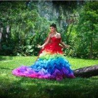 Creative Gothic Colorful Bridal Dress Rainbow Ball Gown Fash...