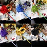 MJ015 маскарада пластиковые маски на палочке с тканью кружева и боковые Цветочные маски для Бал-маскарад Черный Белый Маски красочные партии