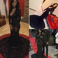 2K16 Bling Sequins Mermaid черные платья выпускного вечера 2016 года Погружаясь V декольте Длинные рукава суд поезд Вечерние Женщины Формальные платья партии PD83