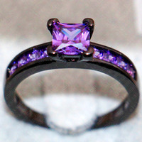 fashion engagement wedding ring set 10kt black gold filled with inlay squaer purple simulated diamond cz ring girl - Purple Wedding Rings
