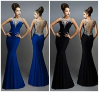 Beaded Sexy Prom Dresses Long Sheer Bateau Mermaid Tulle and...