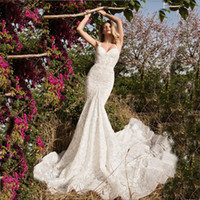 charming Lace wedding dresses Mermaid spaghetti strap Weddin...