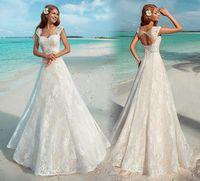2016 Summer Beach Свадебные платья Урожай полный шнурок зашнуровать назад Формальные Свадебные платья с крышкой рукавами 2017 Новый стиль