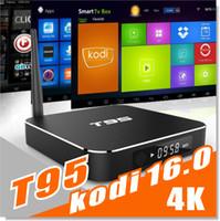 T95 Android TV Boîte Amlogic S905 Quad Core Kodi 16,1 XBMC Entièrement chargée Wifi HD 1080P Smart Mini PC Streaming Media Player 1G + 8G