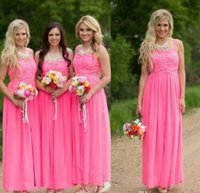 Fuchsia Long Lace Chiffon Country Bridesmaid Dresses 2016 Ne...