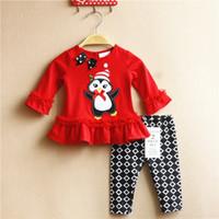 Chirstmas Pajamas 2016 Boys Girls Sets penguin Red Long Slee...
