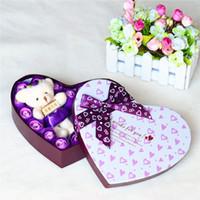 20Pcs Une boîte de savon Rose en forme de coeur + Ours pour la fête des mères Saint Valentin