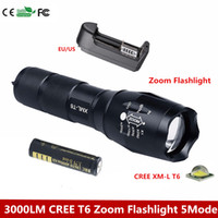 XM- L T6 3000 Lumens Zoomable LED Flashlight Torch light cree...