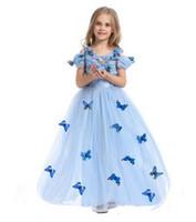 Free gift Os mais novos filmes cinderella vestidos princesa vestido para meninas disfraz cinderella trajes criança 2016 fantasia vestidos qualidade hight livre