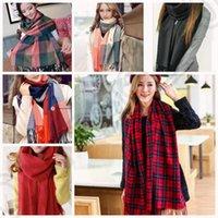 Женщины Blanket Крупногабаритные Tartan Plaid шарф 190 * 60см Lady шали обруча Cozy Checked пашмины длинный шарф 18 конструкций 100шт OOA675