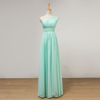 One Shoulder Pleated Long Chiffon Bridesmaid Dress Mint Gree...
