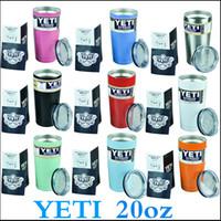 Есть в наличии YETI чашками Rambler Тумблерные 20oz YETI Чашки Автомобили Пивная кружка 600 мл Большая емкость Кружка Yeti Bilayer нержавеющей стали кубок через DHL