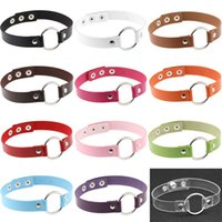 NEW 12 Colors Gothic Leather Round Ring Chokers Harajuku sty...