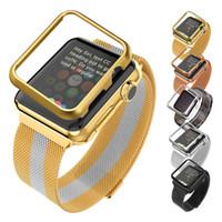 Apple Watch Band 38MM / 42MM avec étui de protection Gold / Black Gun plaqué Milanese Loop Magnet Lock Acier inoxydable de remplacement iWatch sangles