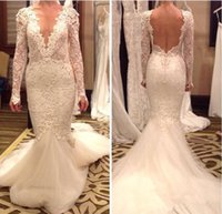 2016 Wedding Dresses with Long Sleeves Mermaid Wedding Gowns...