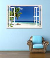 Blue Sky Пляж кокосового дерева Tropic Scenery 3D стены наклейки Закат вид на море Съемный обои Творческий Вид из окна Home Decor